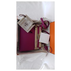 Hermès-Hermès sac à main Kelly Sellier 28 cm Cuir Epsom Rose Pourpre Palladium Full set-Rose