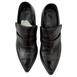 Chanel-Chanel black leather loafers heels EU39-Black