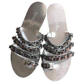 Chanel-Chanel silver chain slides EU38.5-Silvery
