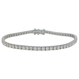 inconnue-Bracelet ligne en or blanc, 5 carats de diamants.-Autre