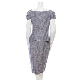 Christian Dior-Tailleur jupe en soie-Gris