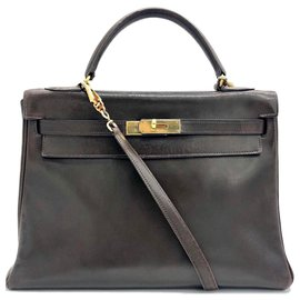 Hermès-KELLY BROWN 32 cm-Dark brown