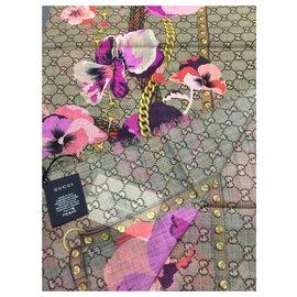 Gucci-GUCCI FLORAL SCARF NOUVEAU-Rose,Multicolore,Beige