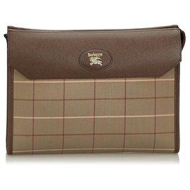 Burberry-Burberry Brown Plaid Canvas Clutch Bag-Brown,Khaki