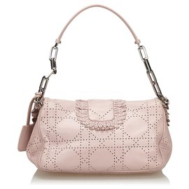 Dior-Dior Pink Perforated Leather New Lock Flap Bag-Pink