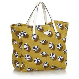 Gucci-Sac cabas en toile imprimée jaune Gucci-Blanc,Jaune