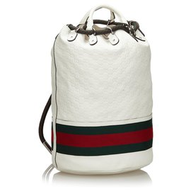 Gucci-Gucci White Sac à dos Guccissima Web Aquariva-Blanc,Multicolore