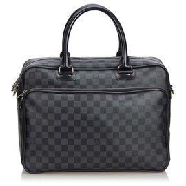 Louis Vuitton-Sacoche pour ordinateur portable Damier Graphite Icare noir Louis Vuitton-Noir,Gris