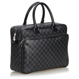 Louis Vuitton-Louis Vuitton Black Damier Graphite Icare Laptop Bag-Black,Grey