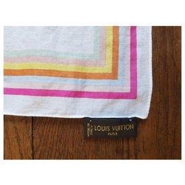 Louis Vuitton-Louis Vuitton, Carré foulard monogramme 60cm par 60cm-Blanc,Multicolore