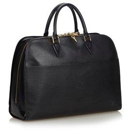 Louis Vuitton-Louis Vuitton Black Epi Sorbonne-Noir