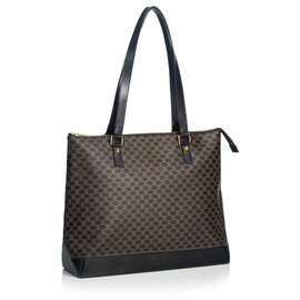 Céline-Celine Black Macadam Tote Bag-Brown,Black
