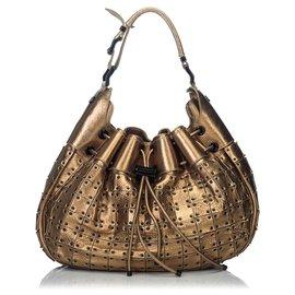 Burberry-Burberry Gold Metallic Warrior Shoulder Bag-Golden