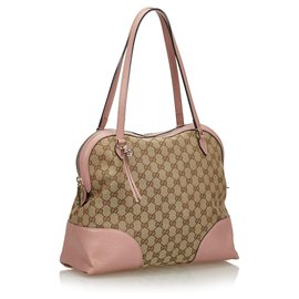 Gucci-Gucci Brown GG Canvas Dome Shoulder Bag-Brown,Pink,Beige