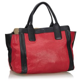Chloé-Chloe Red Leather Alison Tote-Black,Red