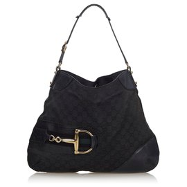 Gucci-Sac à bandoulière Hasler en toile noire GG de Gucci-Noir
