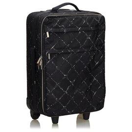 Chanel-Chanel Black Old Travel Line Trolley-Black,White