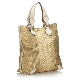 Gucci-Gucci Gold Python Creole Tote Bag-White,Golden