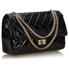 Chanel-Chanel Black Reissue 227 Quilted Patent Leather lined Flap Bag-Black