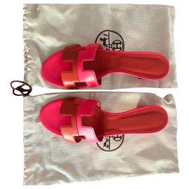 Hermès-Oasis leather  mules-Rose