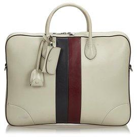 Gucci-Gucci Aktentasche aus weißem Webleder-Weiß,Mehrfarben