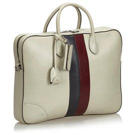 Gucci-Gucci White Web Porte-documents en cuir-Blanc,Multicolore