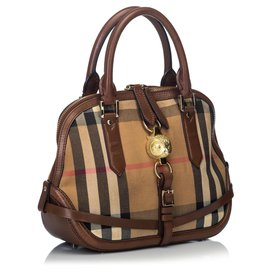 Burberry-Burberry Brown House Check Canvas Orchard Owl Satchel-Brown,Multiple colors,Light brown