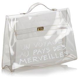 Hermès-Sac à main Hermès en vinyle blanc avec vinyle-Blanc