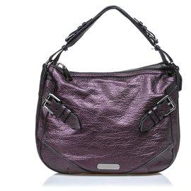 Burberry-Burberry Purple Leather Hobo Bag-Purple