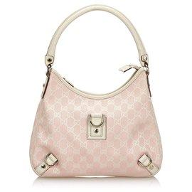 20900b50e ... gucci gucci pink gg canvas abbey shoulder bag pink white ...