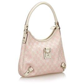 Gucci-Gucci Pink GG Canvas Abbey Shoulder Bag-Pink,White
