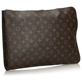 Louis Vuitton-Portefeuille de documents Louis Vuitton Brown Monogram Poche-Marron