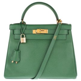 Hermès-hermes kelly 28 Leather shoulder strap Courchevel color green meadow in very good condition!-Green