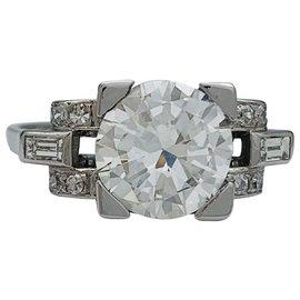 inconnue-Bague en platine Art Déco, diamant 1,66 ct I/VS1.-Autre