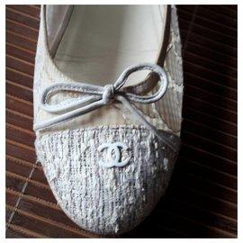 Chanel-Chanel lace tweed ballerina flats EU38.5-Beige