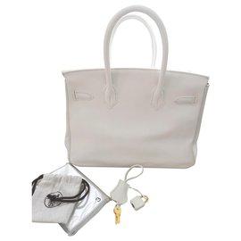 Hermès-HERMES BIRKIN 30 White Swift GHW-Blanc