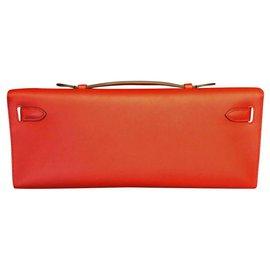 Hermès-Hermes Red Vermillon Kelly cut clutch GHW-Red