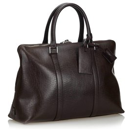 Gucci-Gucci Brown Leather Business Bag-Brown,Dark brown