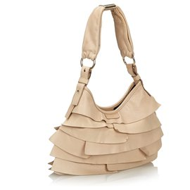 Yves Saint Laurent-YSL White Leather Saint Tropez Shoulder Bag-White,Cream