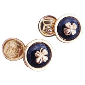 Chanel-Chanel vintage abotoaduras-Preto,Dourado