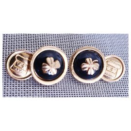 Chanel-Chanel Vintage Manschettenknöpfe-Schwarz,Golden