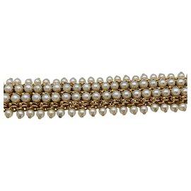 Bulgari-Large bracelet Bulgari en or jaune et perles.-Autre