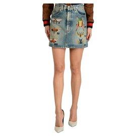 Gucci-Gucci embroidered mini skirt-Light blue