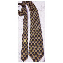 Chanel-Silk chanel tie-Mustard,Dark blue