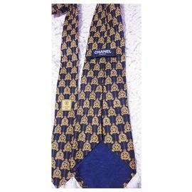 Chanel-Laço chanel de seda-Mostarda,Azul escuro