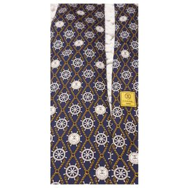 Chanel-Silk chanel tie-Yellow,Eggshell,Dark blue