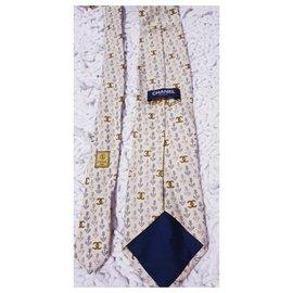 Chanel-Laço chanel de seda-Cinza,Mostarda,Fora de branco
