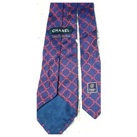 Chanel-Seidenkrawatte-Rot,Marineblau