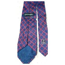 Chanel-Laço chanel de seda-Vermelho,Azul marinho