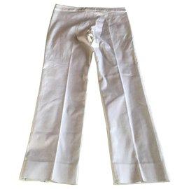 Yves Saint Laurent-Yves Saint Laurent Pantalon Blanc-Blanc